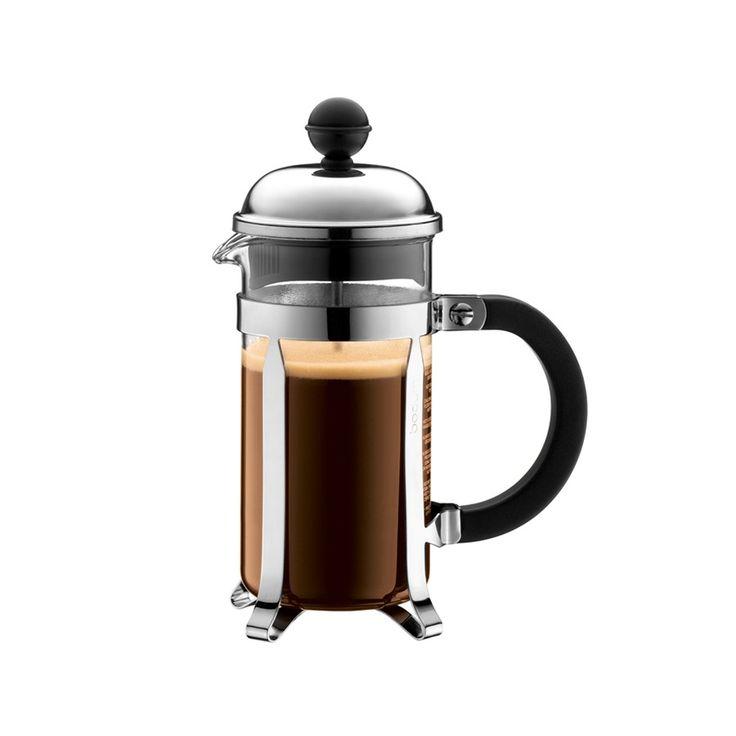 BODUM - Kaffeebereiter Chambord, glänzend, 0,35l | SCHÖNER WOHNEN-Shop  Der CHAMBORD Kaffeebereiter besticht durch seine einfache Handhabung und klassisches Design. Die Erfolgs-Serie von Bodum wurde in den letzten Jahren in kleinen Details am Design verändert und ist seit je her ein Klassiker mit großer Beliebtheit. Der aus Stahl gefertigte Rahmen und Deckel untergehen beim Herstellungsprozess mehrere Chrom-Beschichtungen für einen besonders glänzenden Schein auch nach jahrelangem Gebrauch.