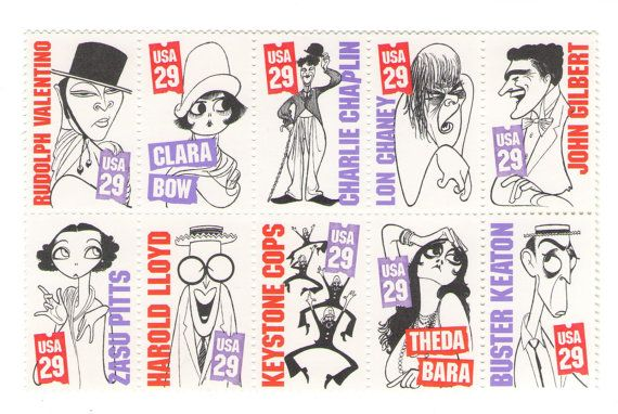 10 Unused 1994 Silent Screen Stars - Vintage Postage Stamps Numbers 2819 -2828