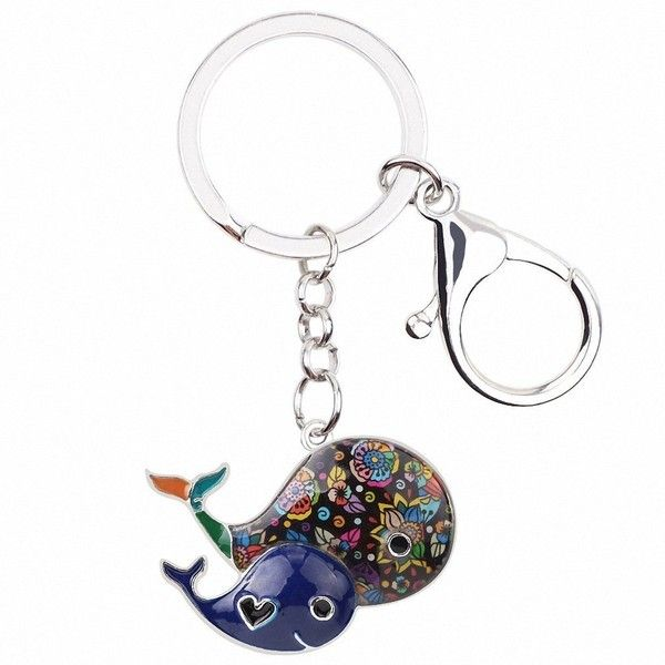 Solpai Enamel Alloy Whale Key Chain Key Ring Handbag Bag Charm... ($15) ❤ liked on Polyvore featuring accessories, fob key chain, keychain key ring, animal key chains, key chain rings and ring key chain