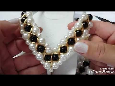 Aula de Bijuteria: Pulseira de pérolas e cristais - YouTube
