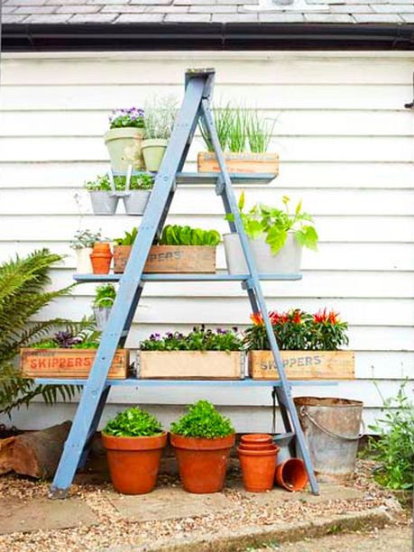 Use an old ladder to create rustic storage.