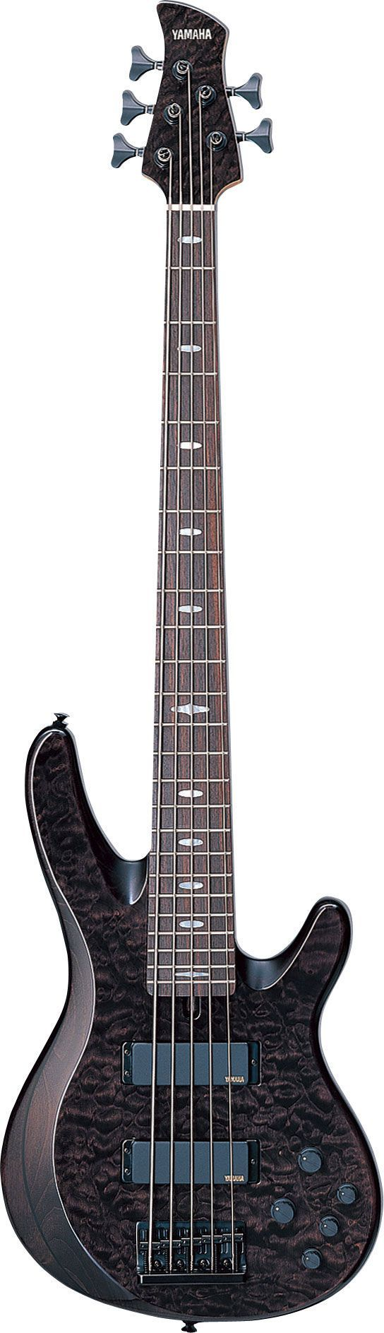 a hugely MOST #POPULAR Re-pin, this ebony Yamaha TRB 5 string bass with beautiful body details. - https://www.pinterest.com/DianaDeeOsborne/basses-of-life/ - Five Strings with a swoop like edge that contains its own swirls, & marble look body that, at close examination, almost looks like detailed bird feathers. A fascinating different bass.