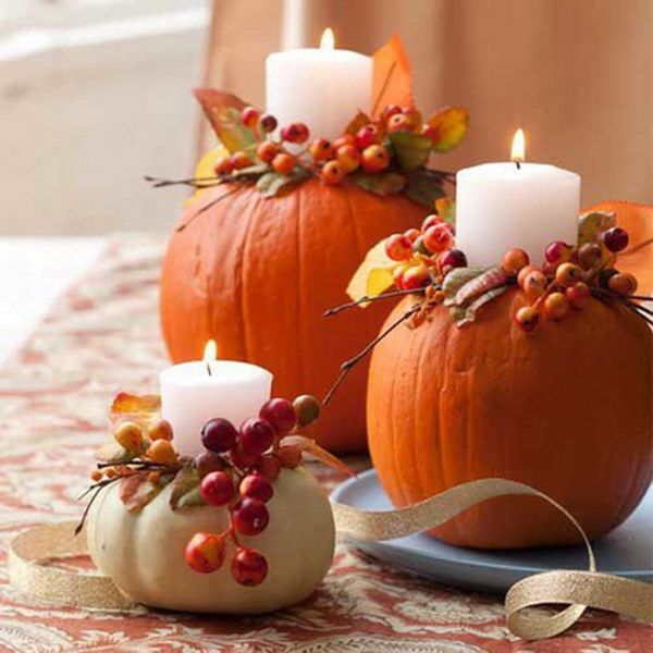 Pumpkin Candle Holders.