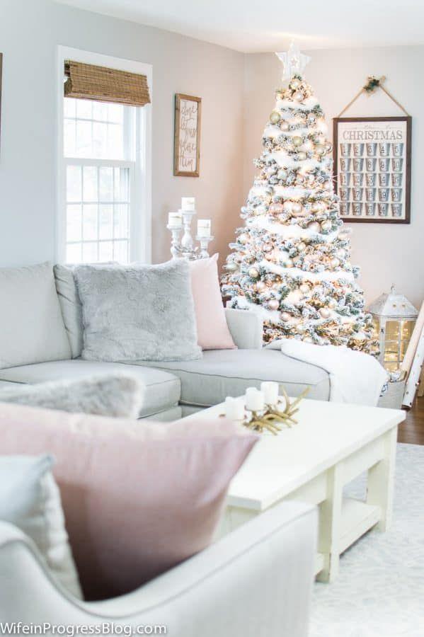 christmas decorating ideas blush pink gold christmas tree rh pinterest com