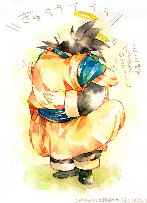 Goku meeting Gohan (his grandpa) This is so sweet and adorable! I wanna cry!