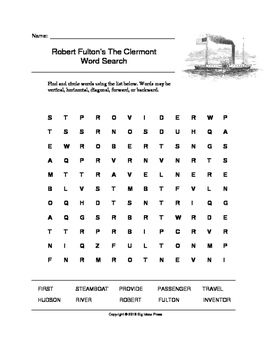Robert Fulton's The Clermont Word Search (Grades 3-5) at #teacherspayteachers