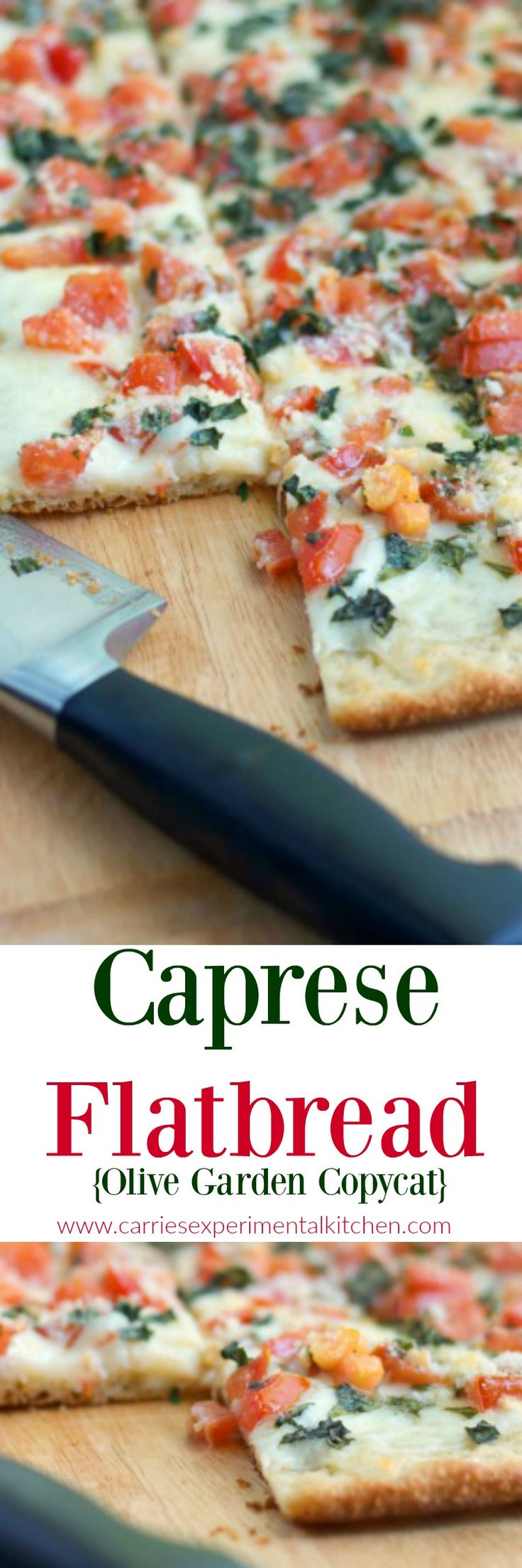 Make this Olive Garden favorite appetizer, Caprese Flatbread made with fresh tomatoes, basil and mozzarella cheese at home. Perfect for pizza night too.