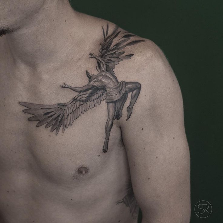 This tattoo shows the climax of the story of Icarus when he overzealously flew high into the sky which caused the wax in his fathers invention to melt.