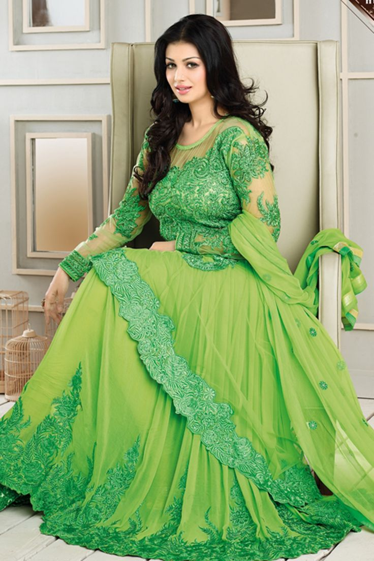 Ayesha Takia Suit Green Faux Georgette Anarkali Suit with Embroidered and Lace Work - AsmiAyesha3101