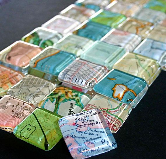 Fun stocking stuffer for map lovers:  set of vintage map magnets, by CrowBiz.