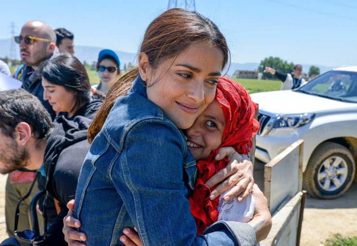 """Millions of children have been robbed of their childhood, their country and have lost their loved ones… they are missing out on their education and are having to work to provide for their families"" said actress, director and producer Salma Hayek Pinault after meeting refugee Syrian children in Lebanon. Thanks to UNICEF Lebanon for the photo."