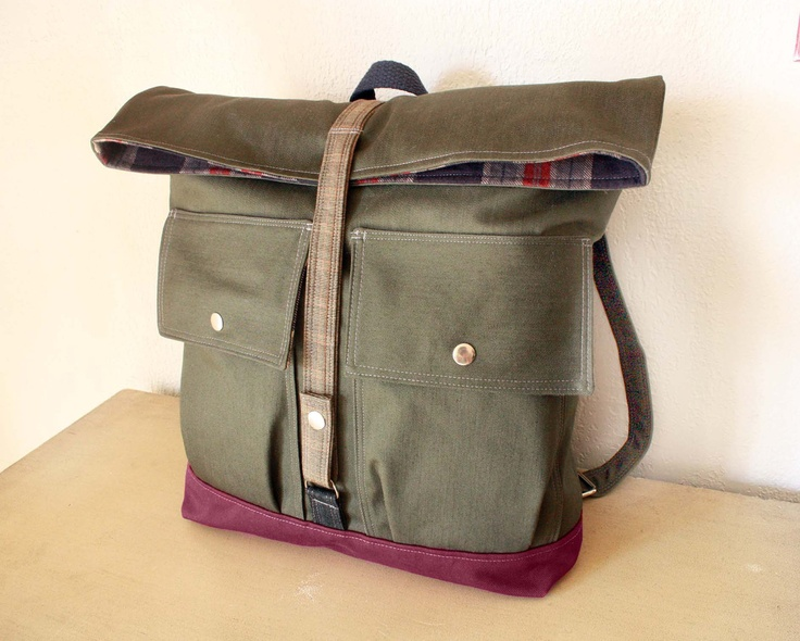 Women Foldover Canvas Backpack / Handmade / Military look/ Bags and Purses --READY TO SHIP--Save 10% off w/ Coupon SAVE10. $109.00, via Etsy.