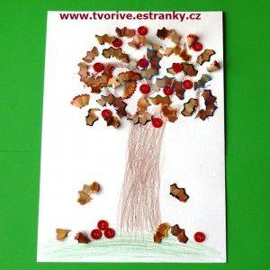 Strom z odřezků pastelek