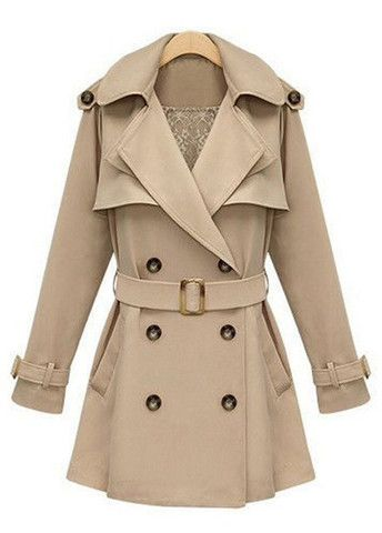 Double Breasted Apricot Trench Coat with Belt – teeteecee - fashion in style