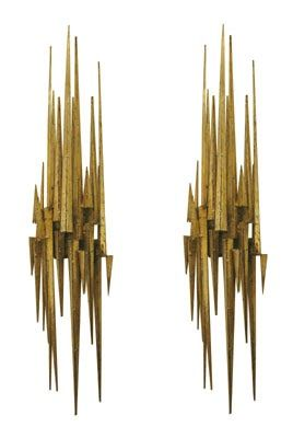 "Pair of Gilded & Patinated Brutalist Steel Spike Wall Sconces. These are 37"" long. - shot through the heart"