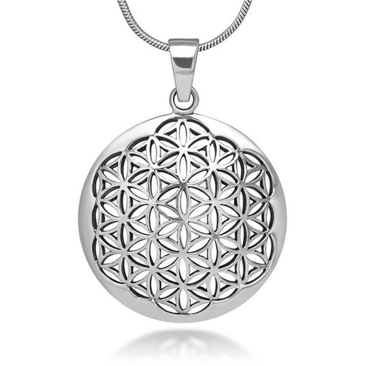 Silver Tone Flower of Life Necklace & Pendant Mandala Sacred Geometry //Price: $12.95 & FREE Shipping //     #styles #design   Silver Tone Flower of Life Necklace & Pendant Mandala Sacred Geometry