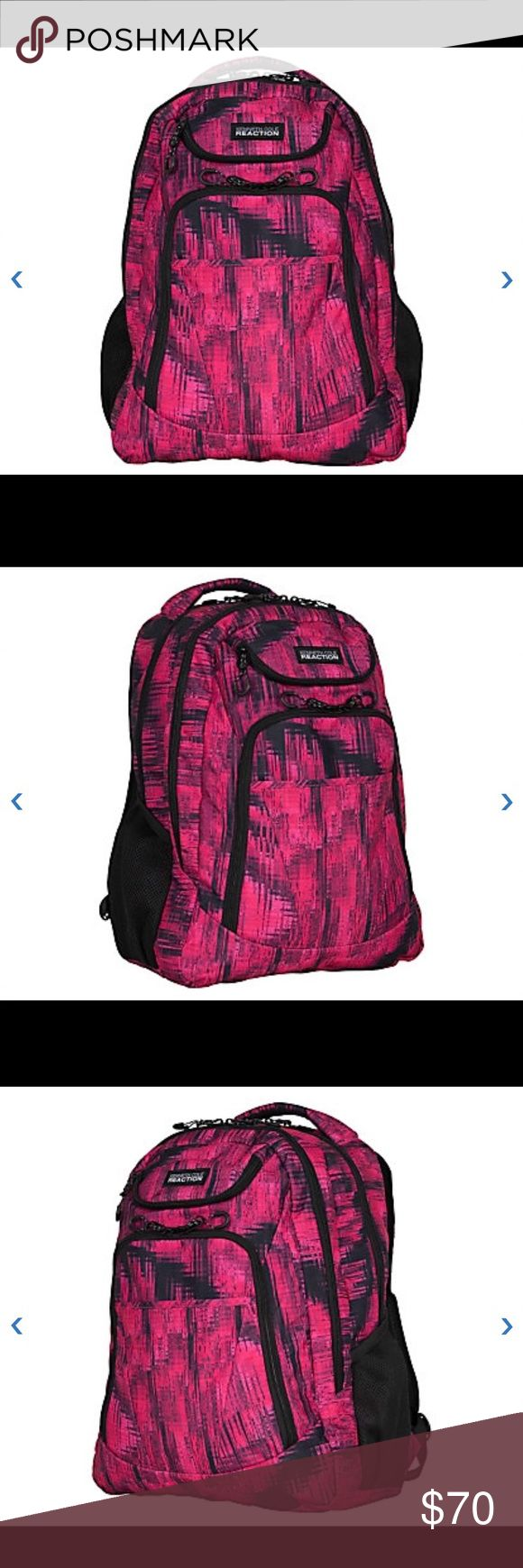 """Kenneth Cole R-Tech Double-Compartment Backpack Kenneth Cole R-Tech Tribute Double-Compartment Backpack With 17"""" Laptop Pocket, Fuchsia Acid Kenneth Cole Bags Backpacks"""