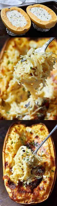 Baked Four Cheese Ga Baked Four Cheese Garlic Spaghetti Squash - cheese chicken cloves healthy recipes spaghetti squash