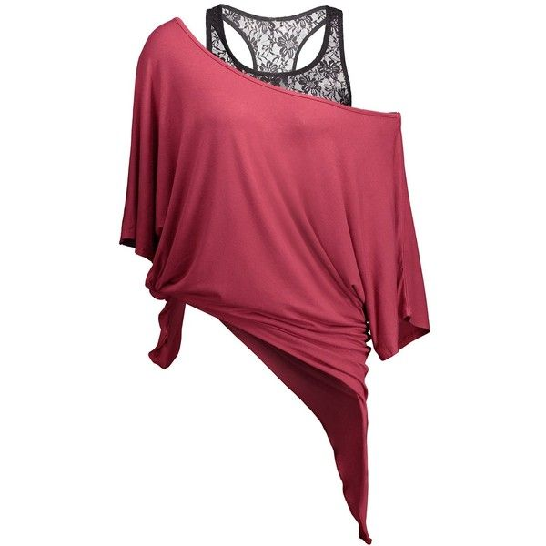 Handkerchief Batwing T Shirt with Lace Tank Top (£14) ❤ liked on Polyvore featuring tops, lace tank, red top, lace tank top, red singlet and red tank
