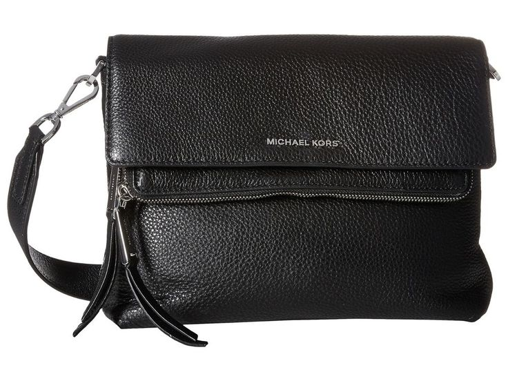 Michael Kors Ezra Medium black leather messenger Bag NWT $298 #MichaelKors #MessengerCrossBody