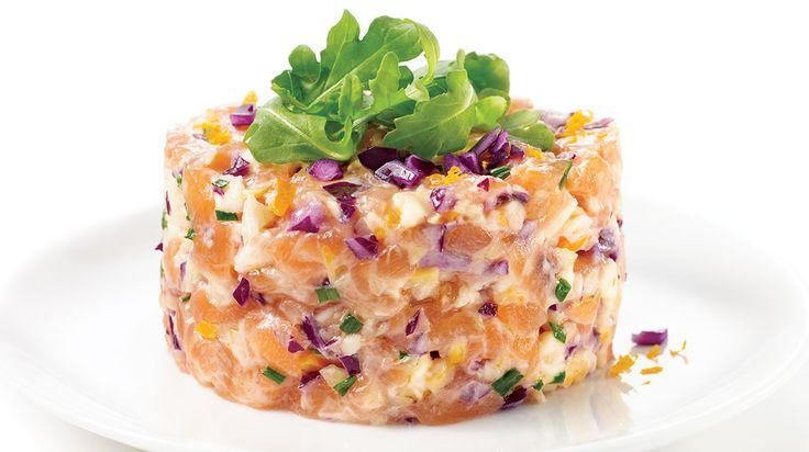 Tartare de saumon au chou croquant, mayonnaise épicée #IGA #Recettes #Entrée