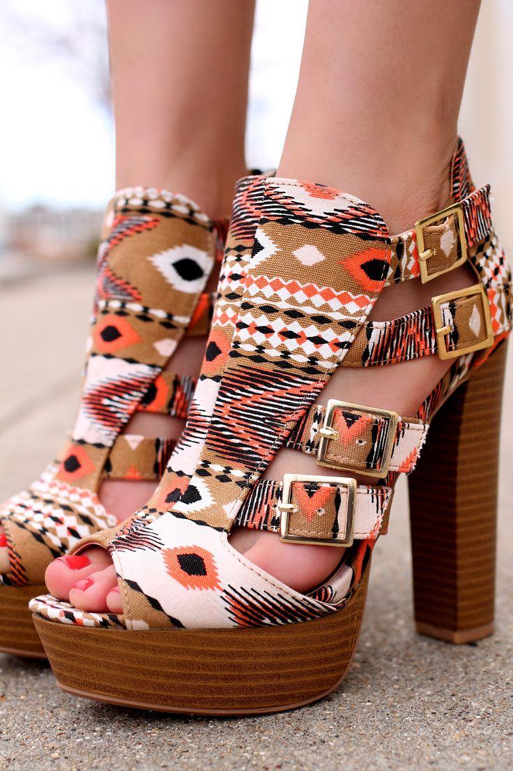 Printed Aztec Heel ENCLOSE-85 | UOIOnline.com: Women's Clothing Boutique