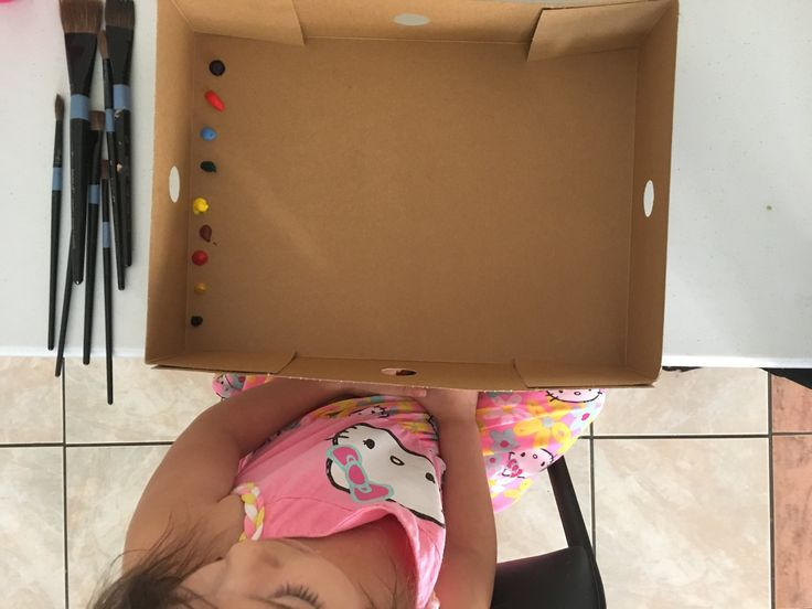 Easy clean up kid friendly painting donut box