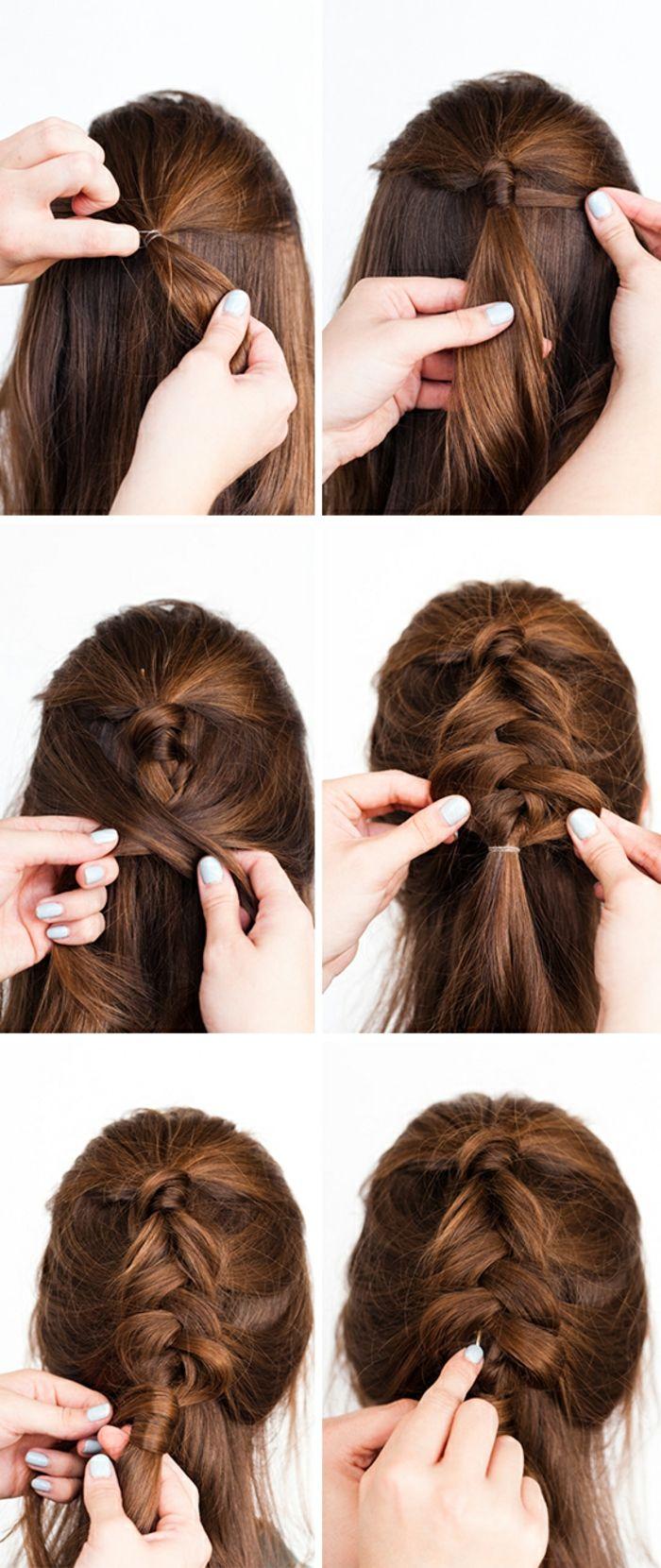 Schritt-für-Schritt Anleitung für einfache Flechtfrisur, schnelle Frisur, die in 5 Minuten fertig ist