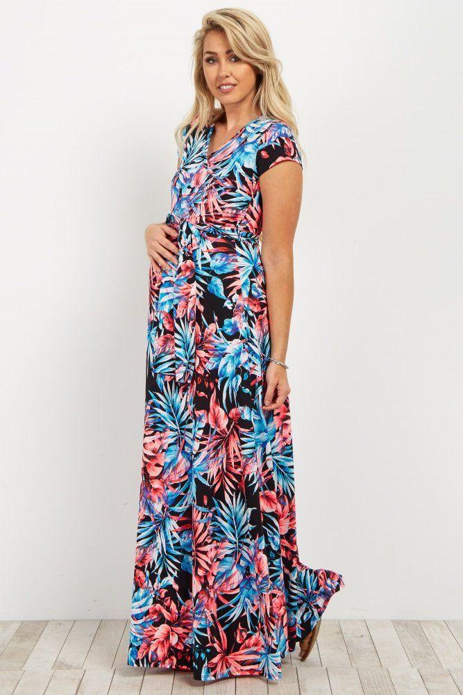 908868e5265 Gorgeous! Black Palm Print Short Sleeve Maternity/Nursing Wrap Maxi ...