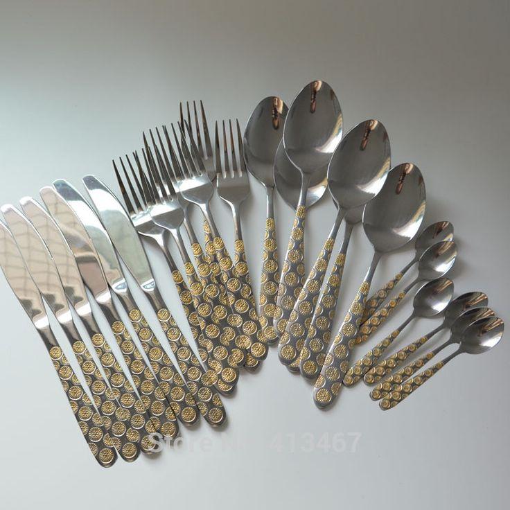 Позолоченные столовые приборы 24 шт. набор посуды из нержавеющей стали посуда золото набор столовых приборов ужин ножи, ложки, вилки главная кухонный инвентарь