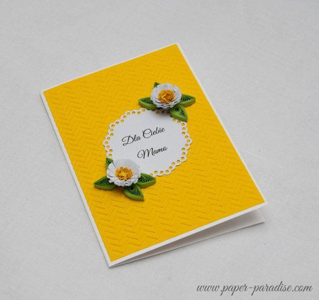 Kartka na Dzień Matki, Quilling, kolor żółty - PaperParadisePL - Kartki na Dzień Matki