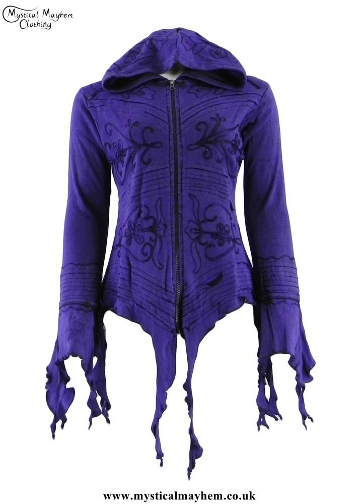 Purple Ragged Hem & Embroidery Pixie Hooded Hippy Festival Top Large/XLarge UK Size 12-16