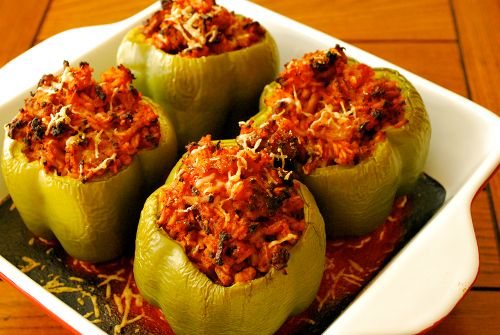 Ground turkey stuffed bell peppers. Made these last night. Who knew healthy food could taste so good!