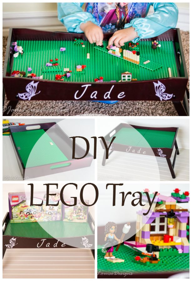 DIY Lego Tray play station. I still haven't figured out the best way to store the legos yet, but I like this little desk!