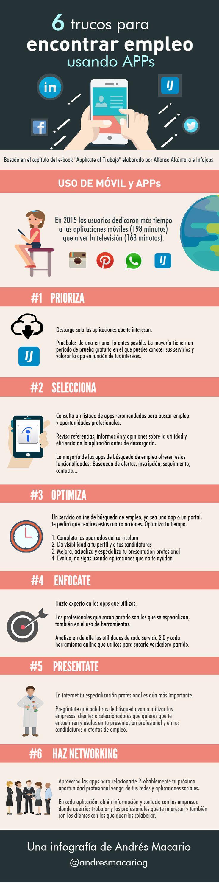 6 trucos para encontrar empleo con apps - #Infografia Andres Macario