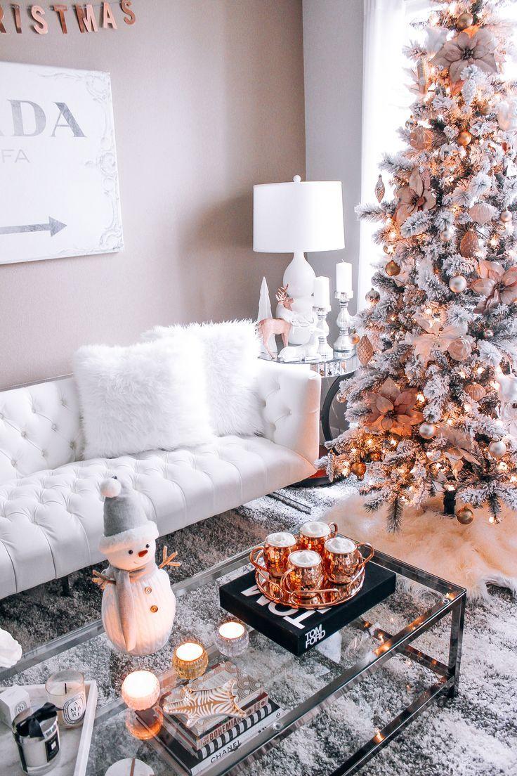 Blush Pink Rose Gold White Christmas Decor Christmas