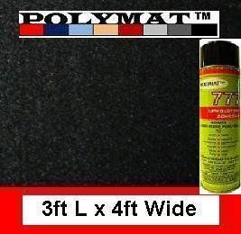 Polymat 3ft X 4ft + 1 Can 777 Glue Black Speaker Box Carpet Cabinet Enclosure Carpet Truck Car Trunk Liner, Dash Cover, Interior Headliner Carpet by Polymat. $14.99. 3 foot long by 4 foot wide BLACK carpet.  Ideal for carpeting speaker boxes and custom amp racks, trunk, dash, and head liners of cars, trucks, boats, RV... and many other projects. FOR MORE INFO. VISIT: POLYMATCARPET.COM Exclusive Authorized seller: bargainshore