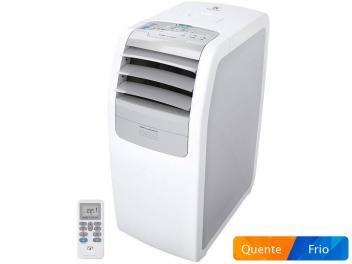 Ar Condicionado Portátil 10.000 BTUs Quente e Frio. Sistema de aquecimento, tripla filtragem, reduz odores e retém partículas de poeira. Gás é ecológico R410a. Painel White Touch. Controle remoto.