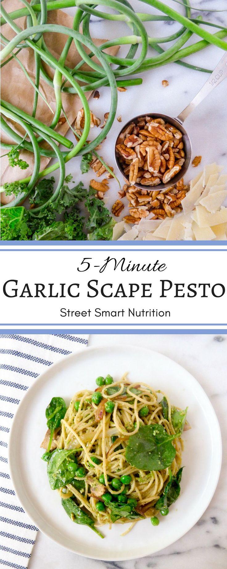 5-Minute Garlic Scape Pesto | Street Smart Nutrition Blog