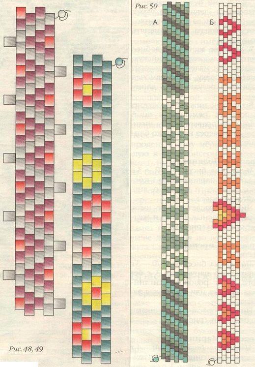 схемы плетения браслетов-ремешков