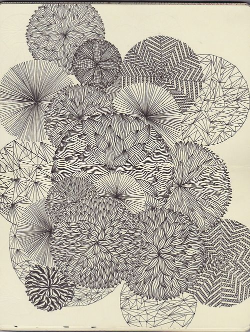 Art project idea: draw overlapping circles and then fill with a variety of creative patterns. I like black ink, but could also be done in color.