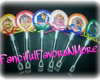 20 Paw Patrol party favor mini bubble wands Paw by SassyCreationz
