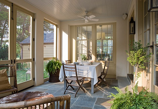 nice screened porch ~ from Anne Decker Architects: Screen Porches, Porches Floors, Anne Decker, Screens Porches, Bluestone Floors, Screens Doors, Decker Architects, Sun Room, Screened Porches