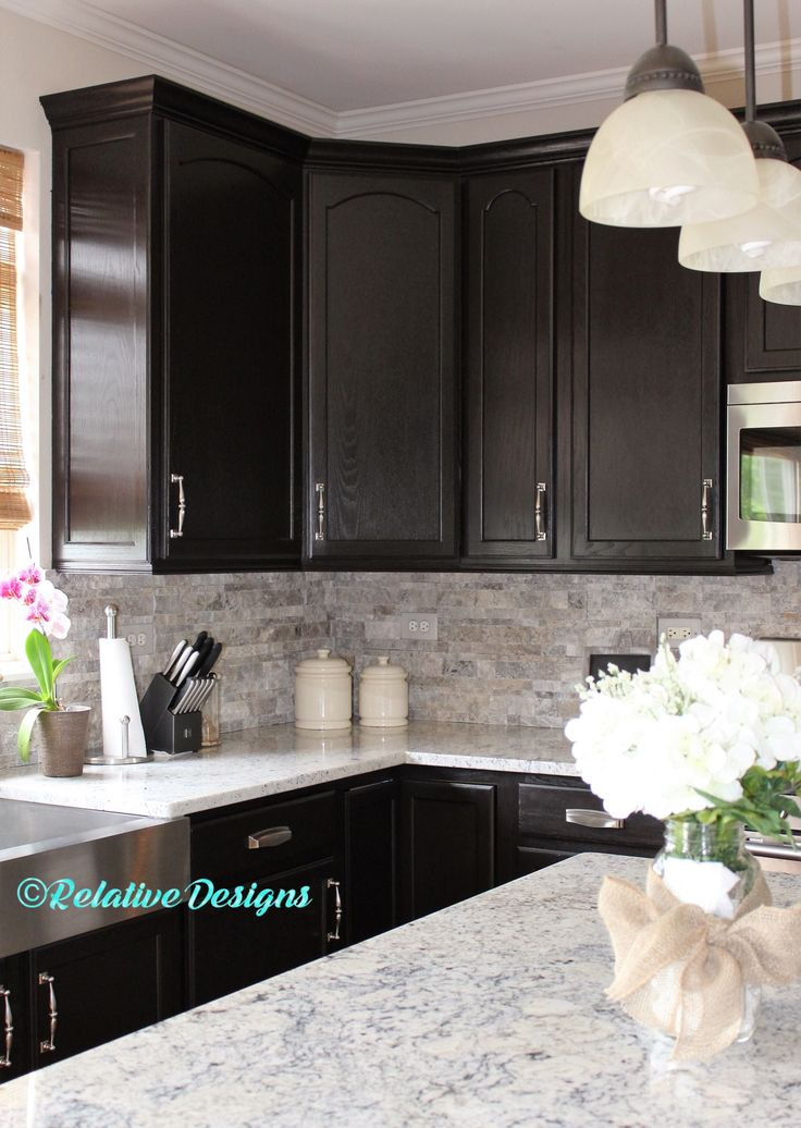 find this pin and more on kitchen cabinet inspiration - Dark Kitchen Cabinets With Light Granite