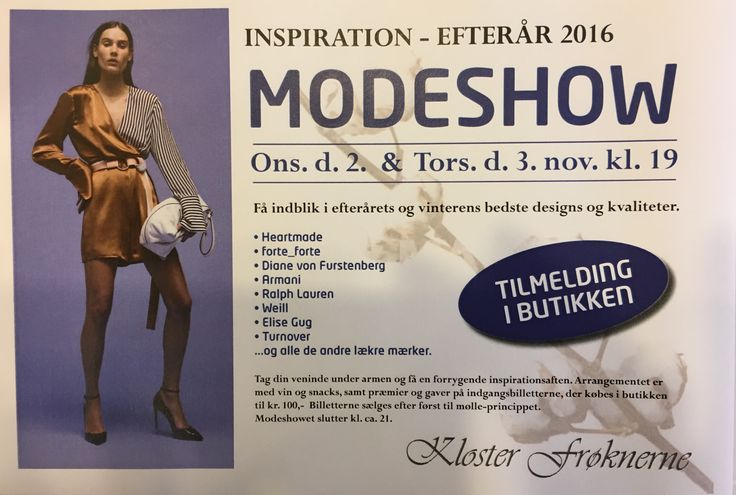 Modeshow hos Klosterfrøknerne! - Stadig få billetter d. 3. Nov