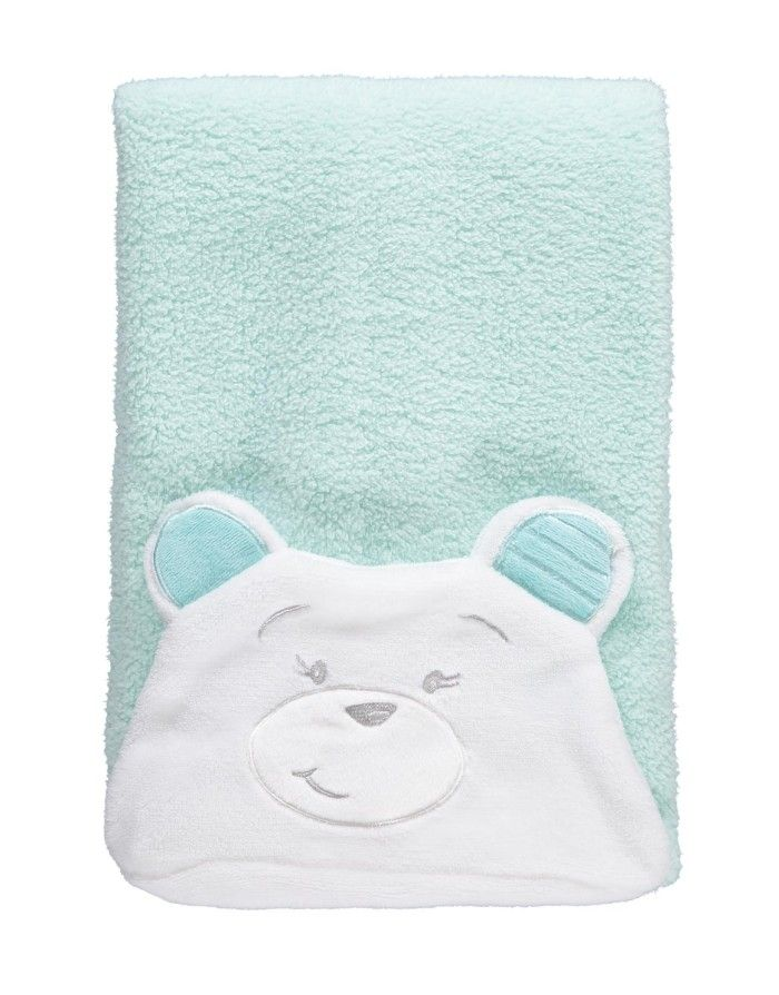 Fuzz Bear Hooded Sherpa Blanket