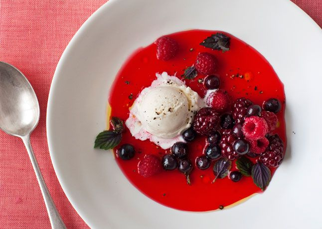 Mixed Berry Gazpacho with Basil