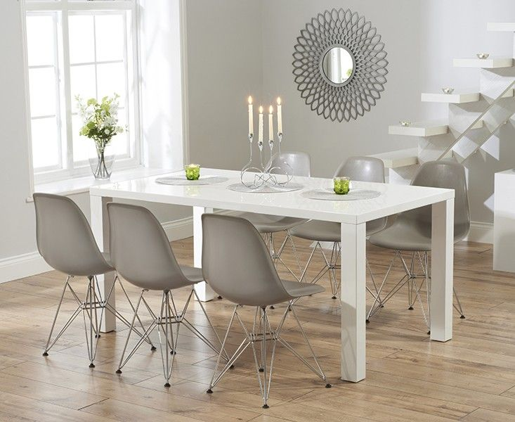 Buy the atlanta 160cm white high gloss dining table with charles eames style dsr st hle - Dining room tables atlanta ...