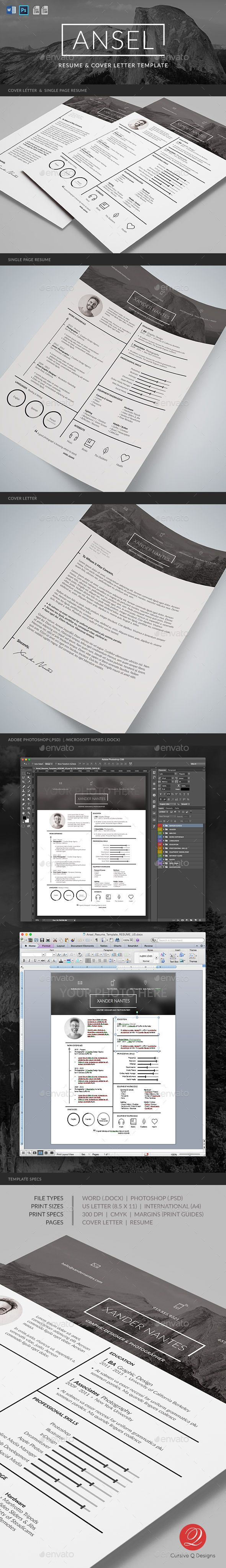 Cv Templates Design%0A Ansel  Resume and Cover Letter Template