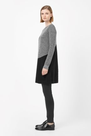 Contrast knit dress